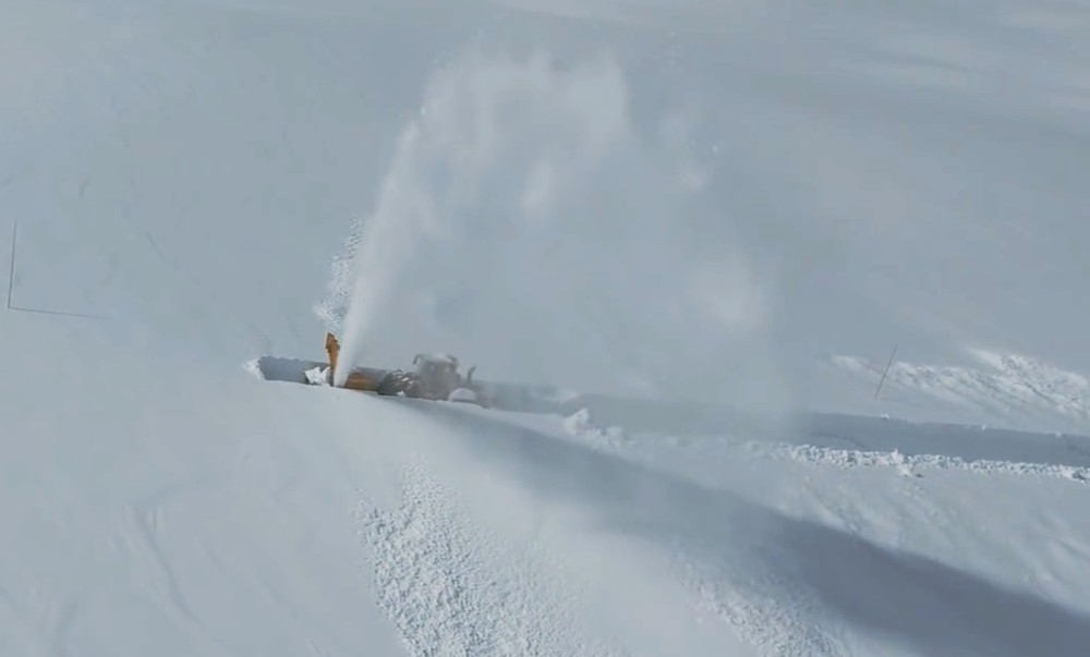 Deep snow road clearing