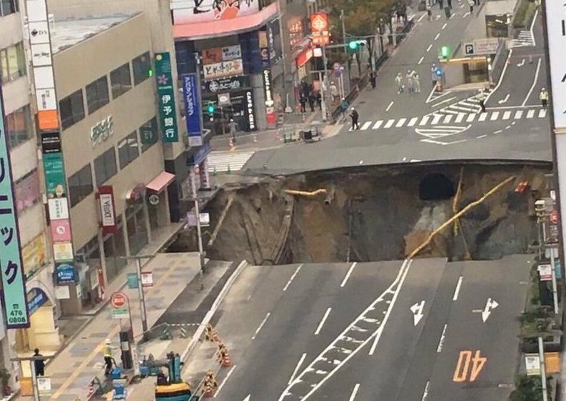 Japan's giant sinkhole repaired in 8 days