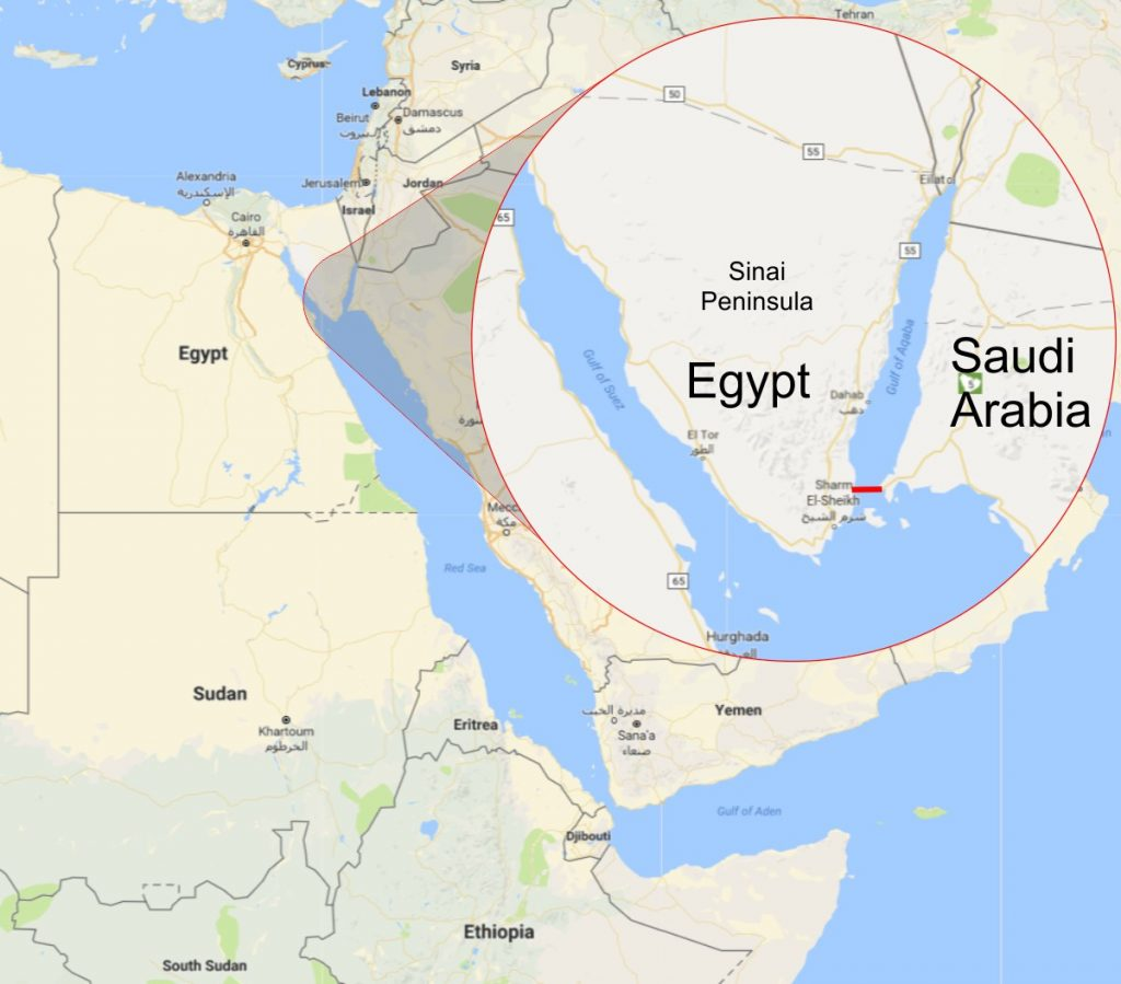 Saudi Egypt Bridge Map