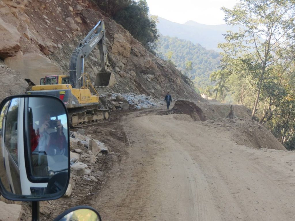 Bhutan Road Construction Phobjika to Thimpu by Doug Knuth