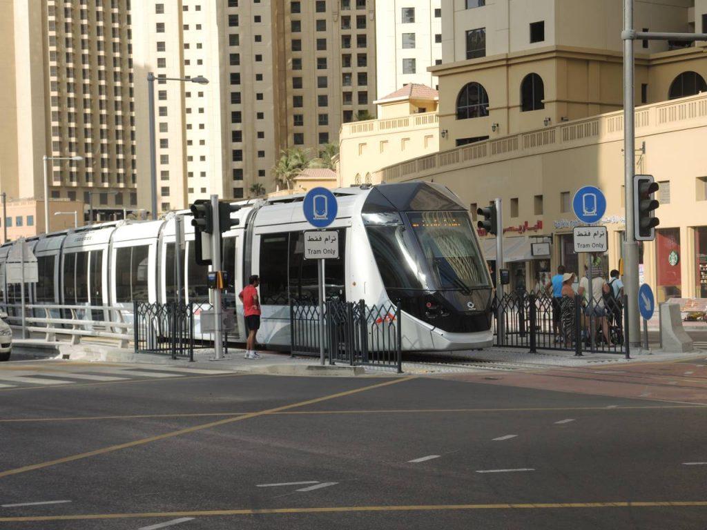 Dubai Tram at stop at Dubai_Marina 2014