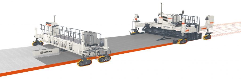 The new SP 60 series from Wirtgen offers flexible solutions for premium inset and offset concrete paving. Self-propelled texture curing machines like the new Wirtgen TCM 180i expertly cure freshly paved concrete surfaces.