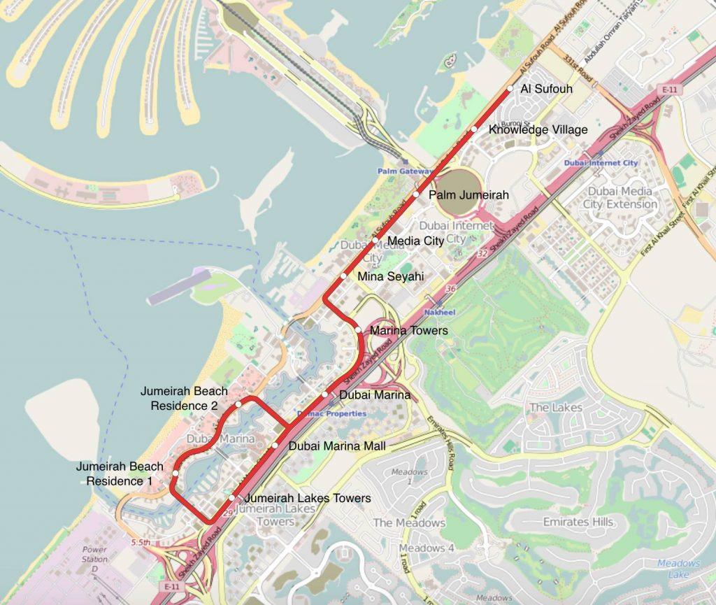 Dubai Tram Map Tranvia di Dubai