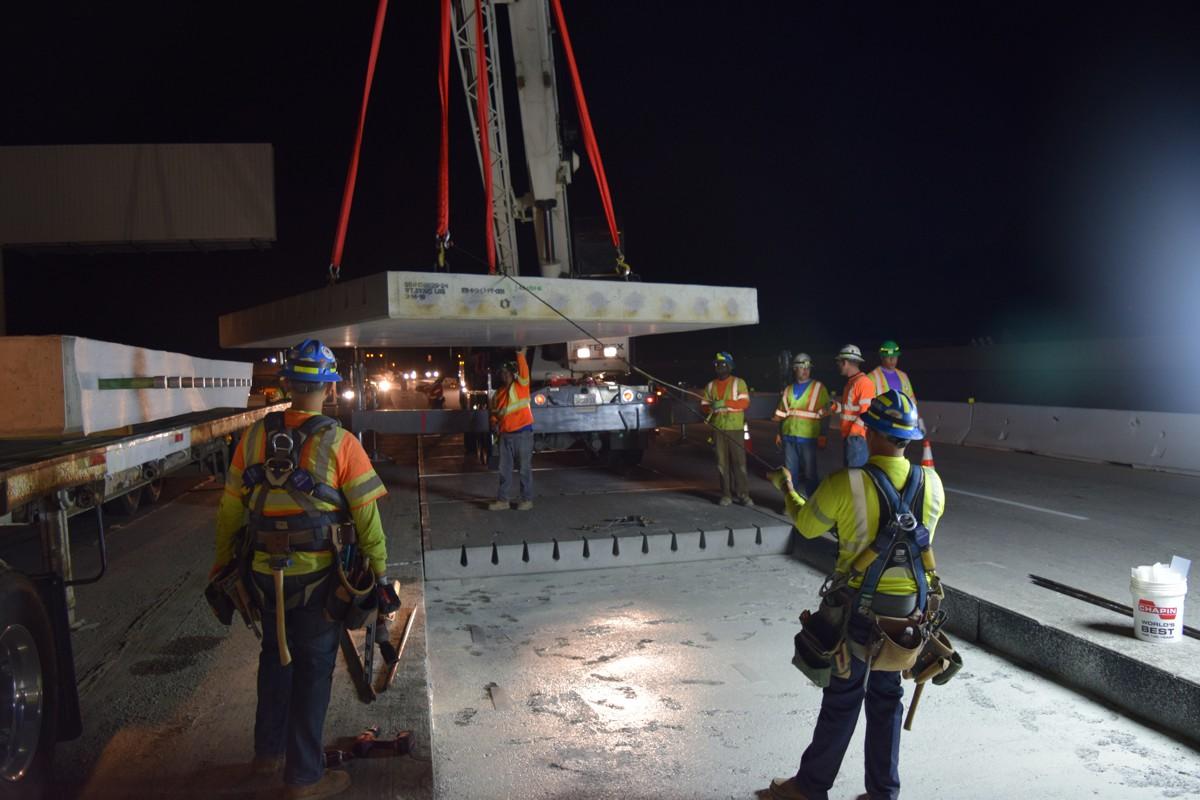 Oldcastle Precastsupplies 7,000 precast concrete highway slabsfor highwayin California