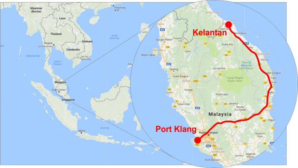 Port Klang to Kelantan Railway Map