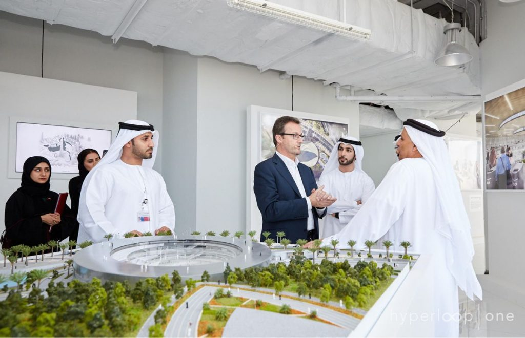Rob Lloyd in UAE with Hyperloop Station Model