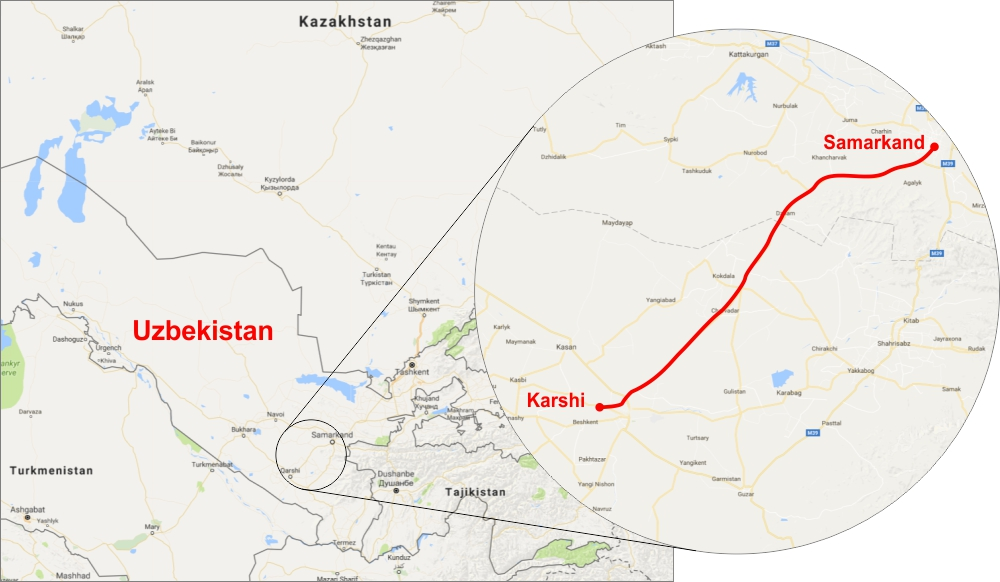 Asian Development Bank funded Uzbekistan Electric Railway - Map