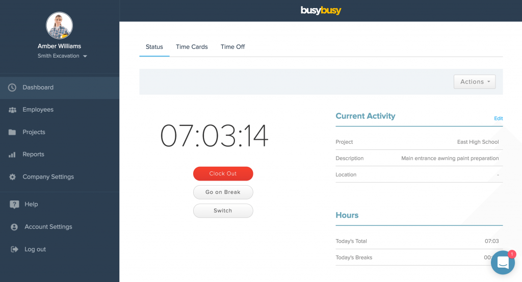 Clocking out Screenshot. Image by busybusy
