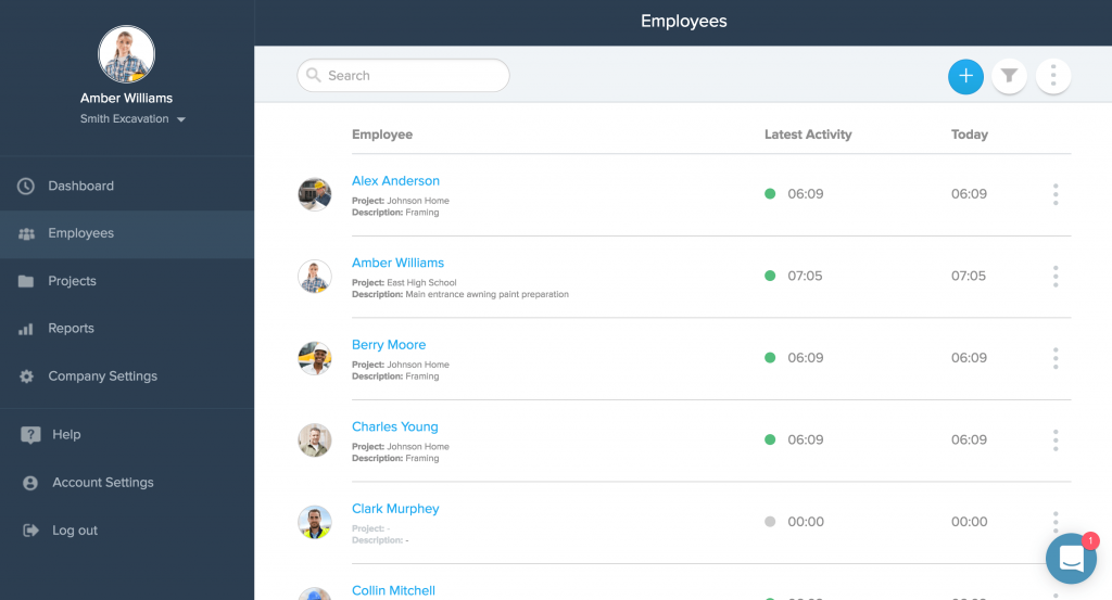 Employees list view screenshot. Image by busybusy
