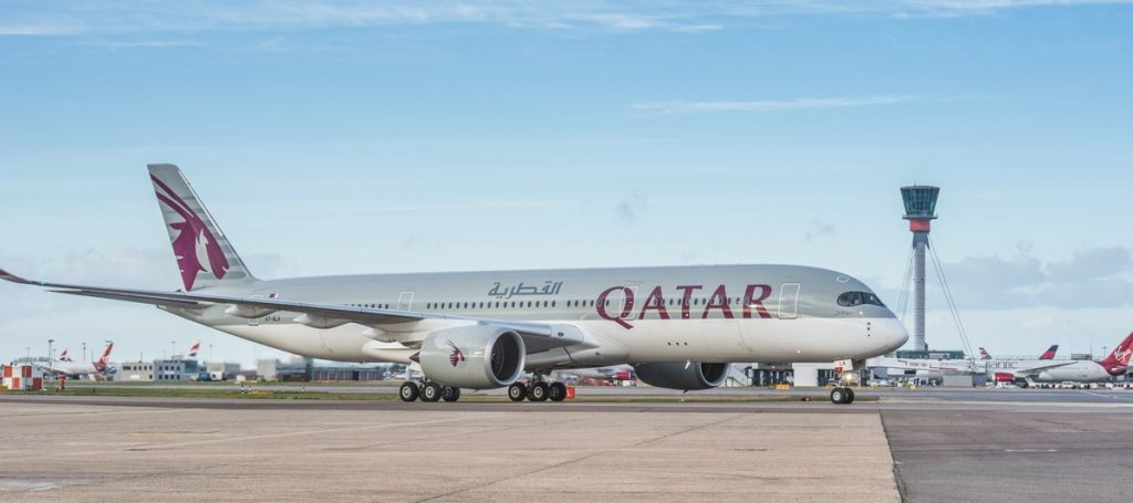 Heathrow Airport, Qatar Airways A350 arrives for proving trial en route to Doha, 10 January 2015.