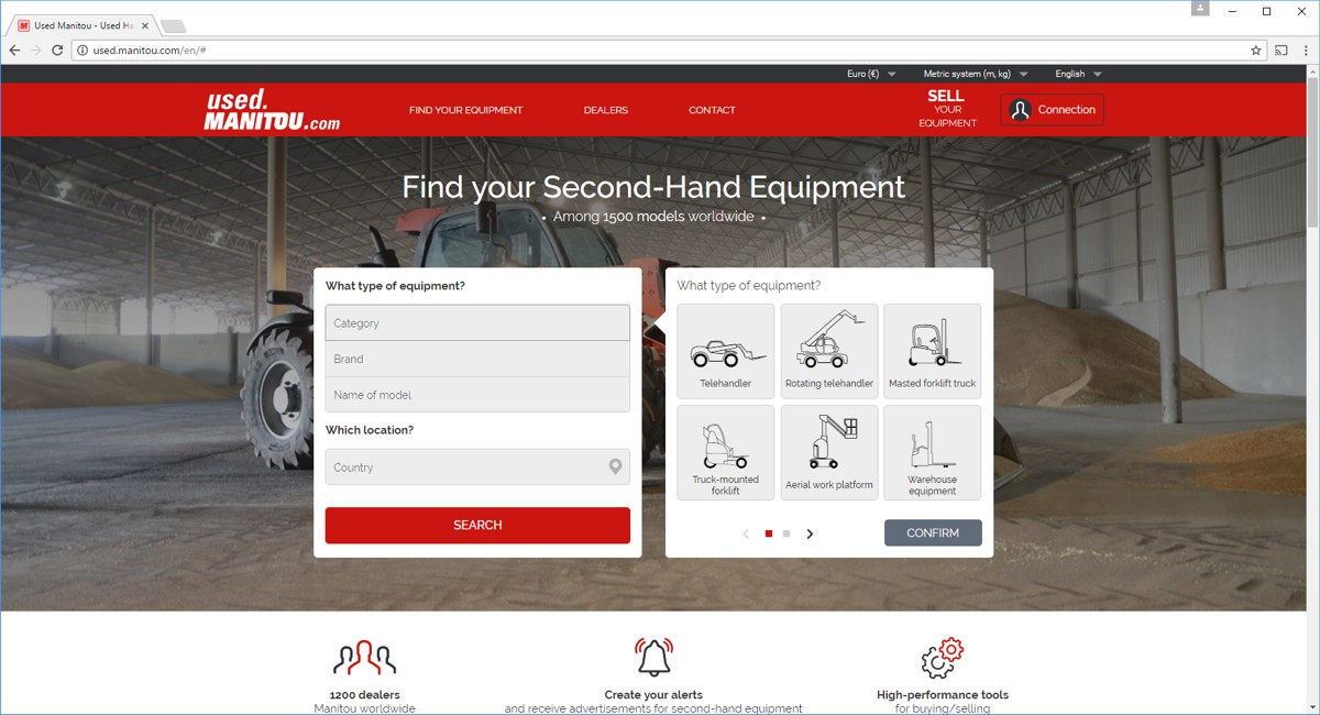 The second-hand machine website used.manitou.com is moving up a gear