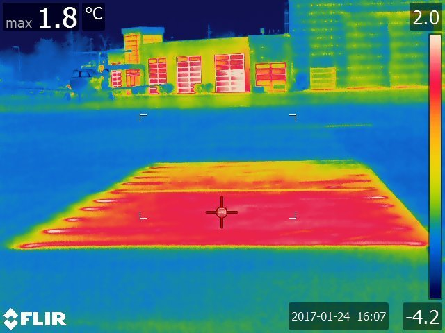 A thermal image of the heated airport pavements.