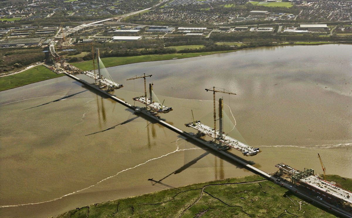 Drone footage showcases progress of theMersey Gateway Bridge