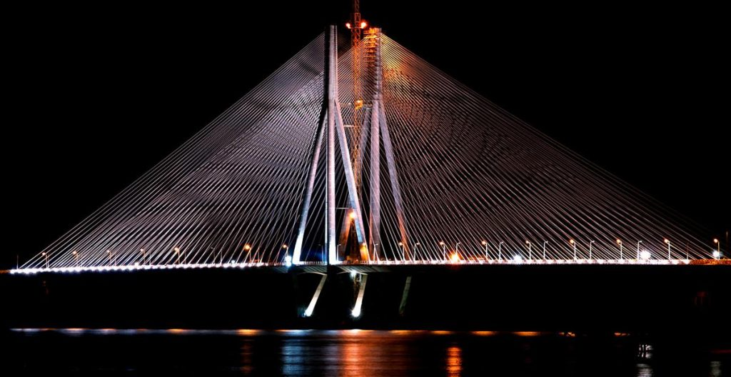 Night shot of Bandra Worli Sea Link by Amit Kulkarni