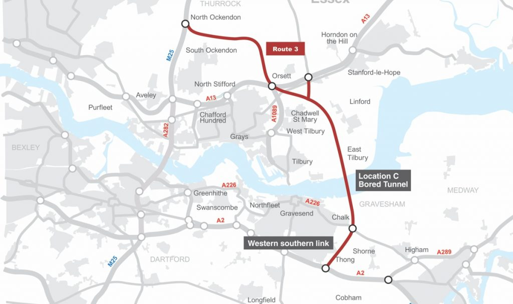 New Lower Thames Crossing preferred route