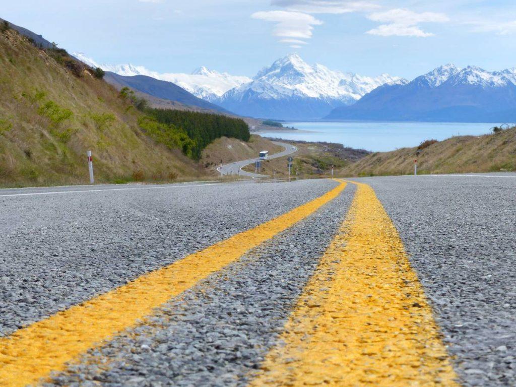 Road to Mount Cook new Zealand by Bernard Spragg