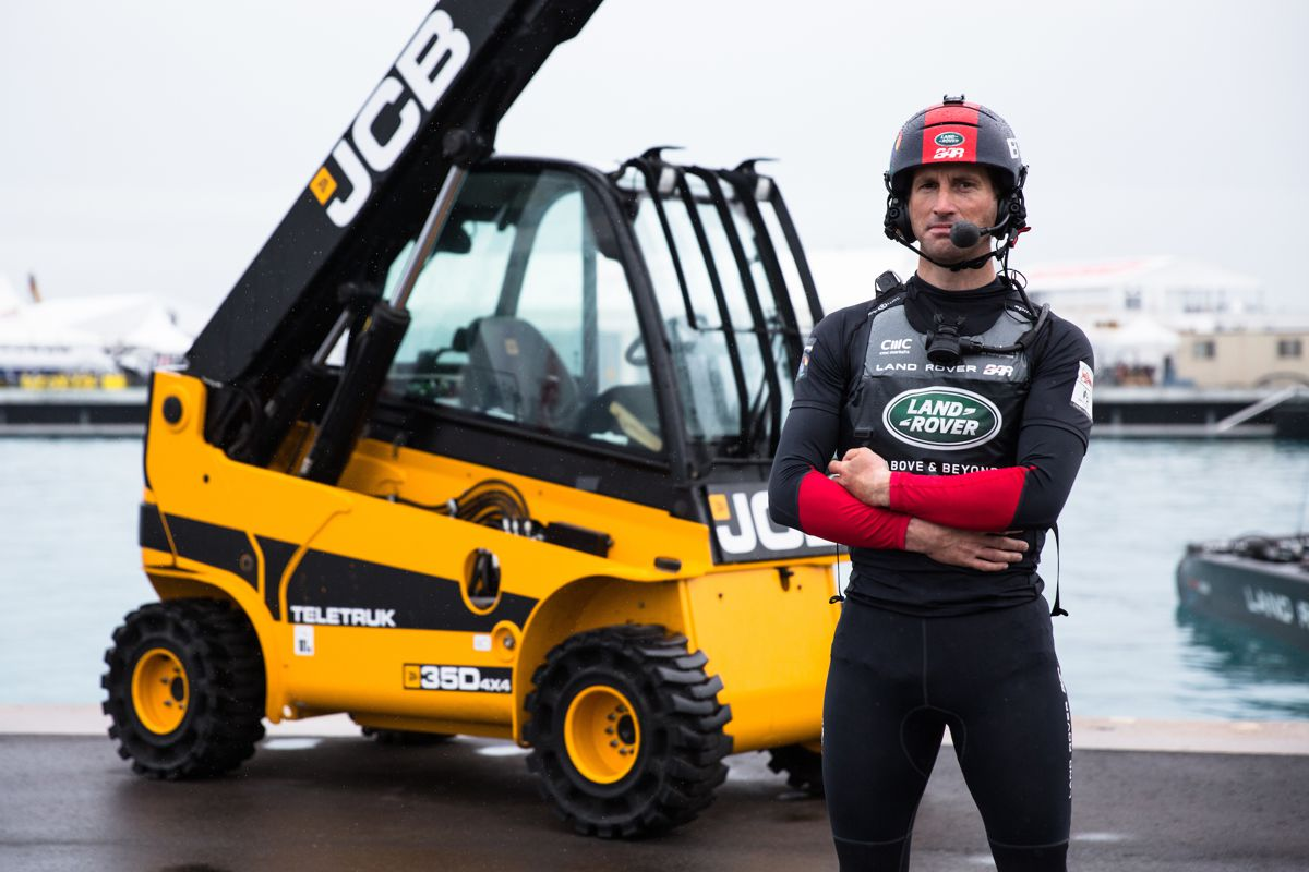 Britain's bid for the America's Cup is powered, lit and given a lift up by JCB