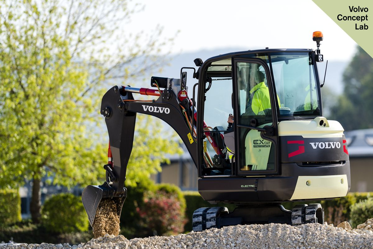 Volvo Construction Equipment unveils the EX2 electric compact excavator prototype