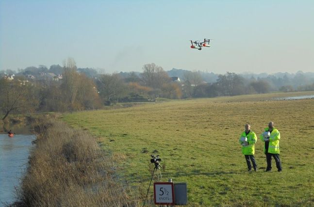 Image: Two of Balfour Beatty's Civil Aviation Authority licensed drone pilots operating a drone during a bridge inspection