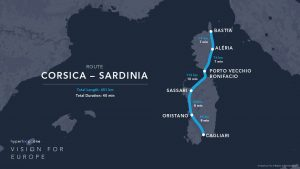 Hyperloop One route Corsica / Sardinia