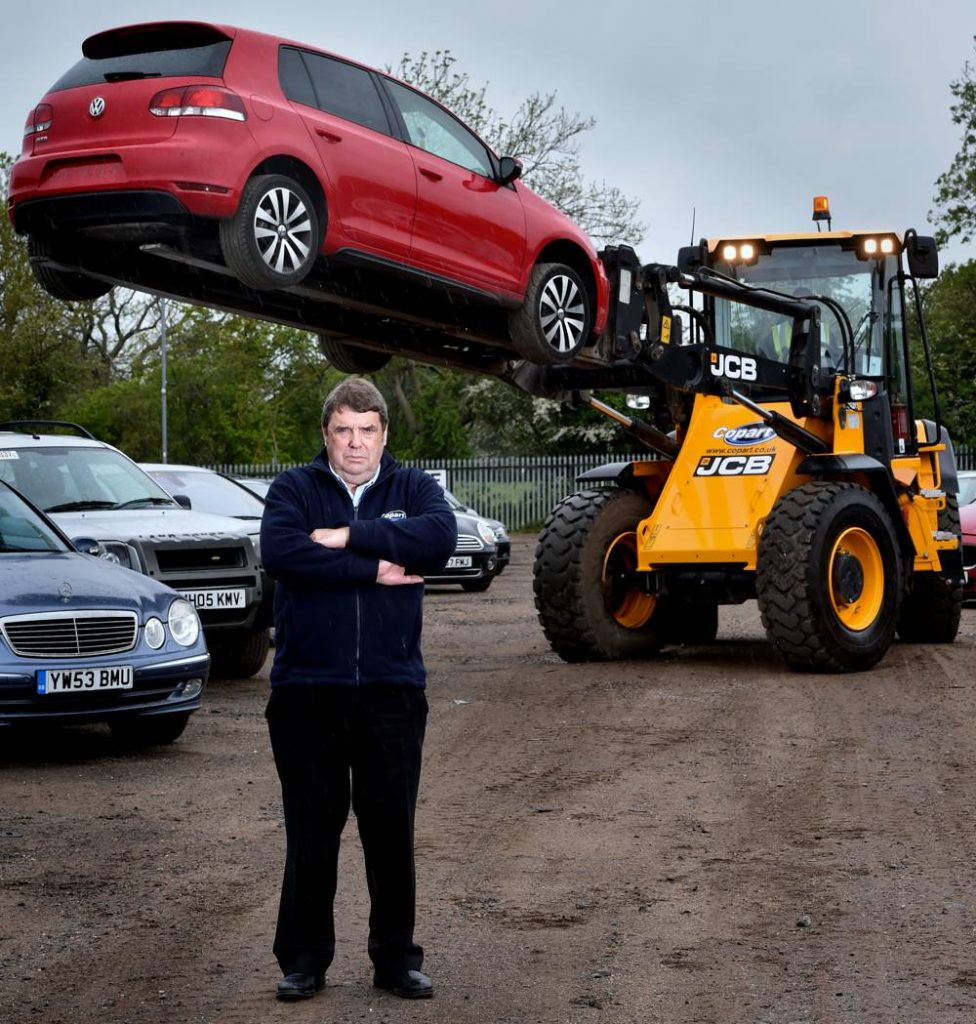 Fred Houghton, Transport Operations Manager at Copart, pictured with one of the new JCB 417 wheeled loaders.