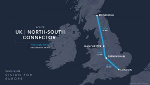 Hyperloop One route UK - North South Connector