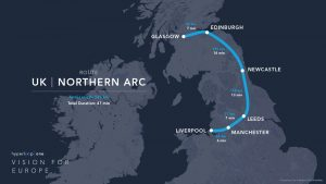 Hyperloop One route UK - Northern Arc