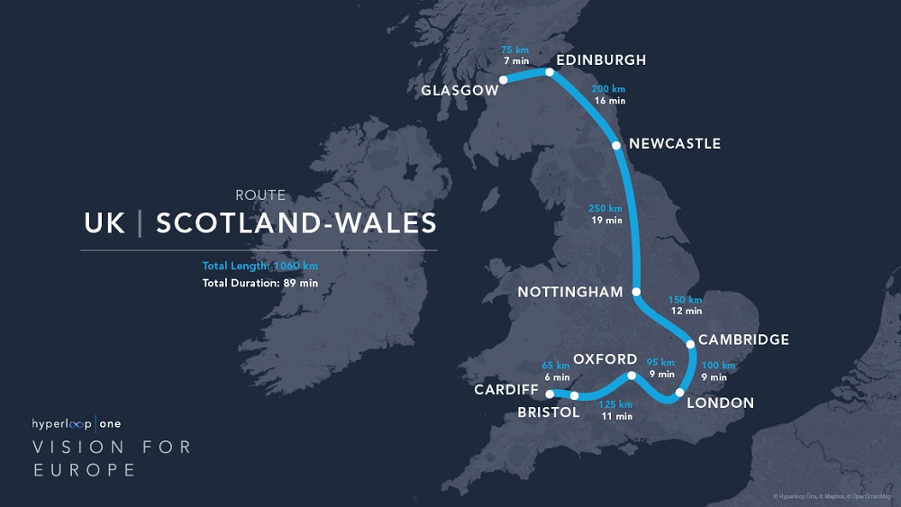 Hyperloop One route UK / Scotland / Wales