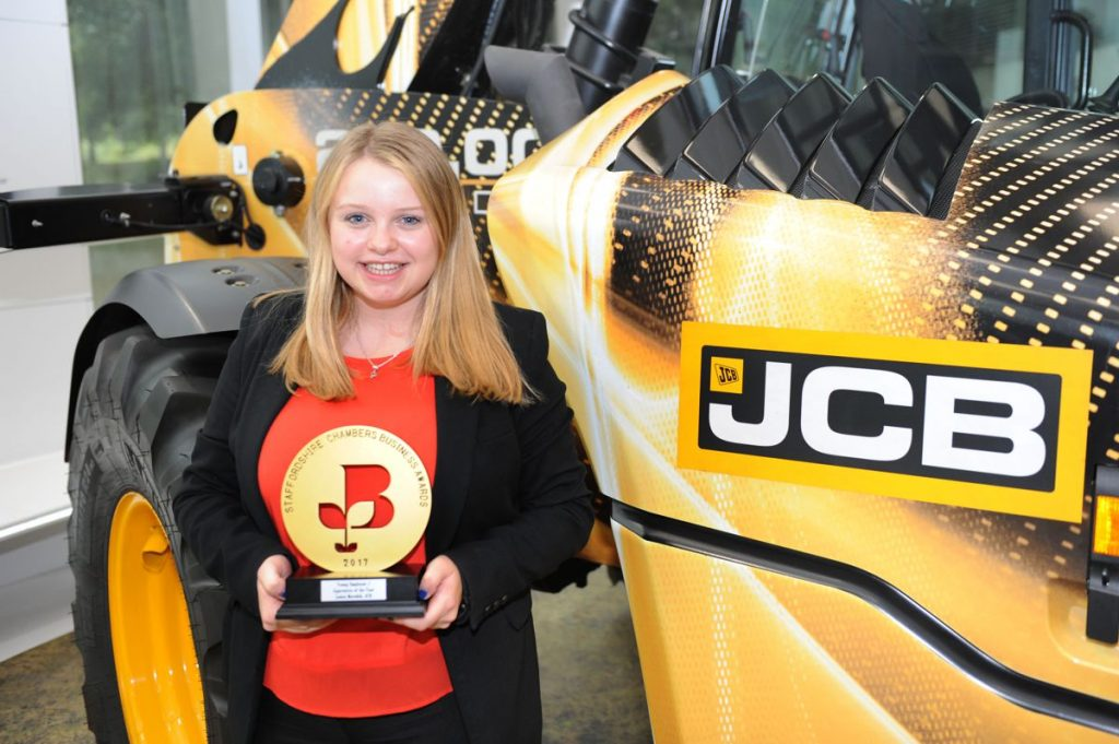 JCB Higher Apprentice Louise Meredith with her Apprentice of the Year Award at JCB's World HQ in Rocester
