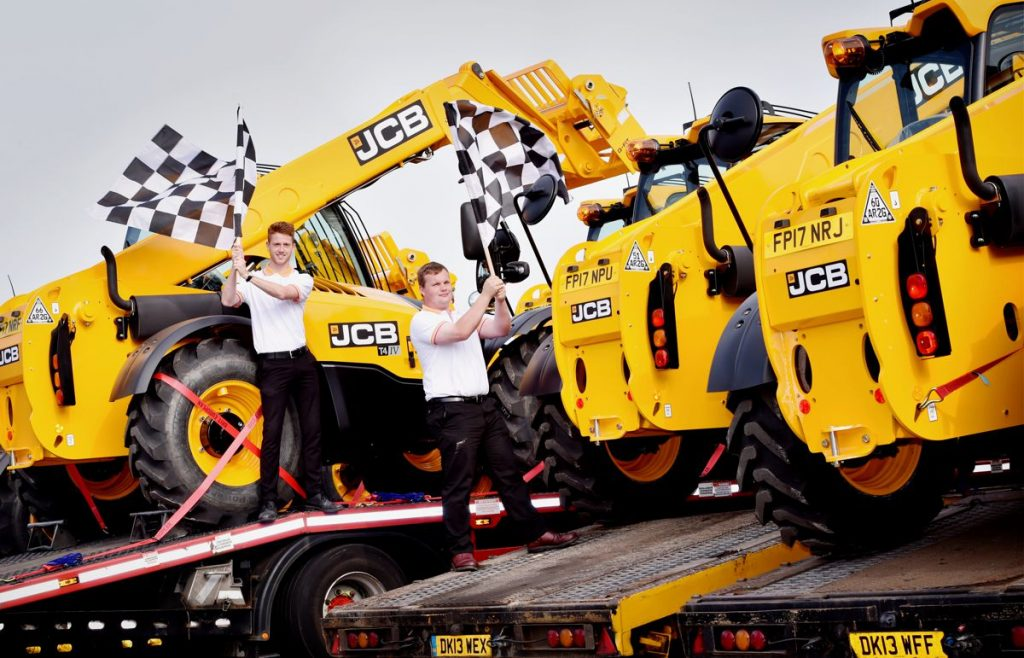 Fourteen JCB Loadall telescopic handlers left the JCB World HQ in Rocester, Staffordshire, this morning on trucks bound for Silverstone in Northampton ahead of the Formula 1 Grand Prix next weekend.