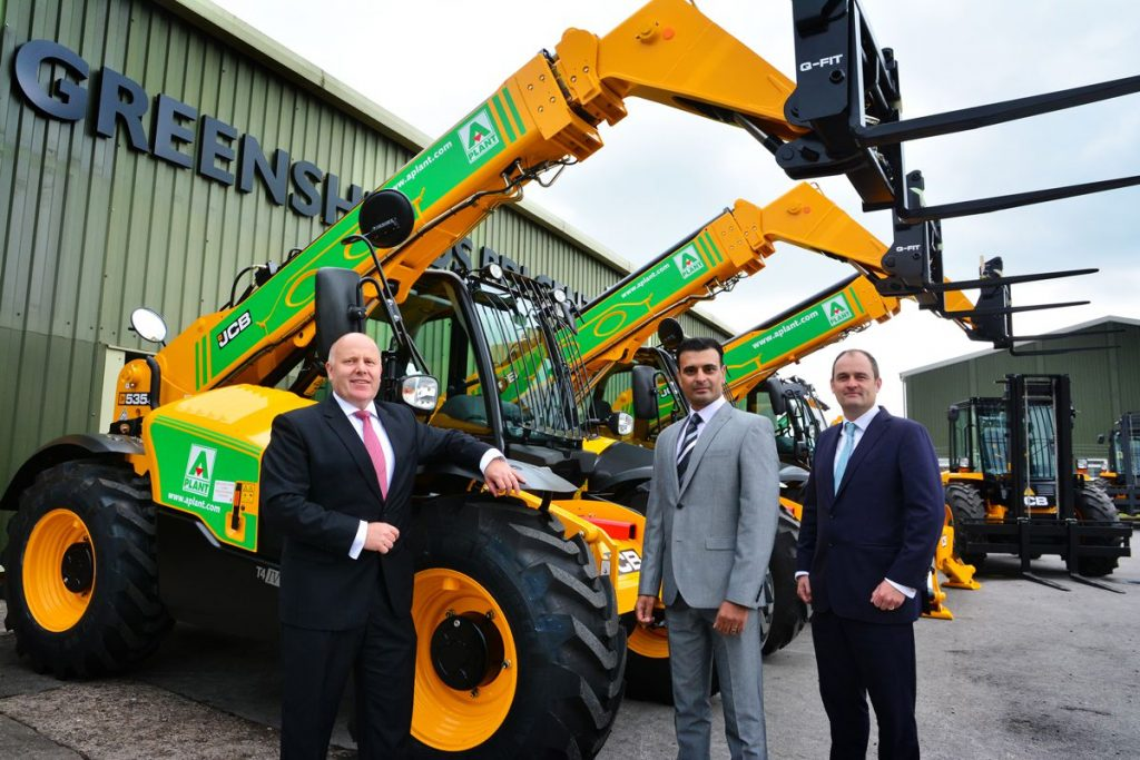 A-Plant has ordered more than £55 million worth of eqipment from JCB. Pictured left to right are JCB Chief Operating Officer Mark Turner, A-Plant Marketing Director Asif Latief and Tom Greenshields, National Accounts Director for dealer Greenshields JCB.