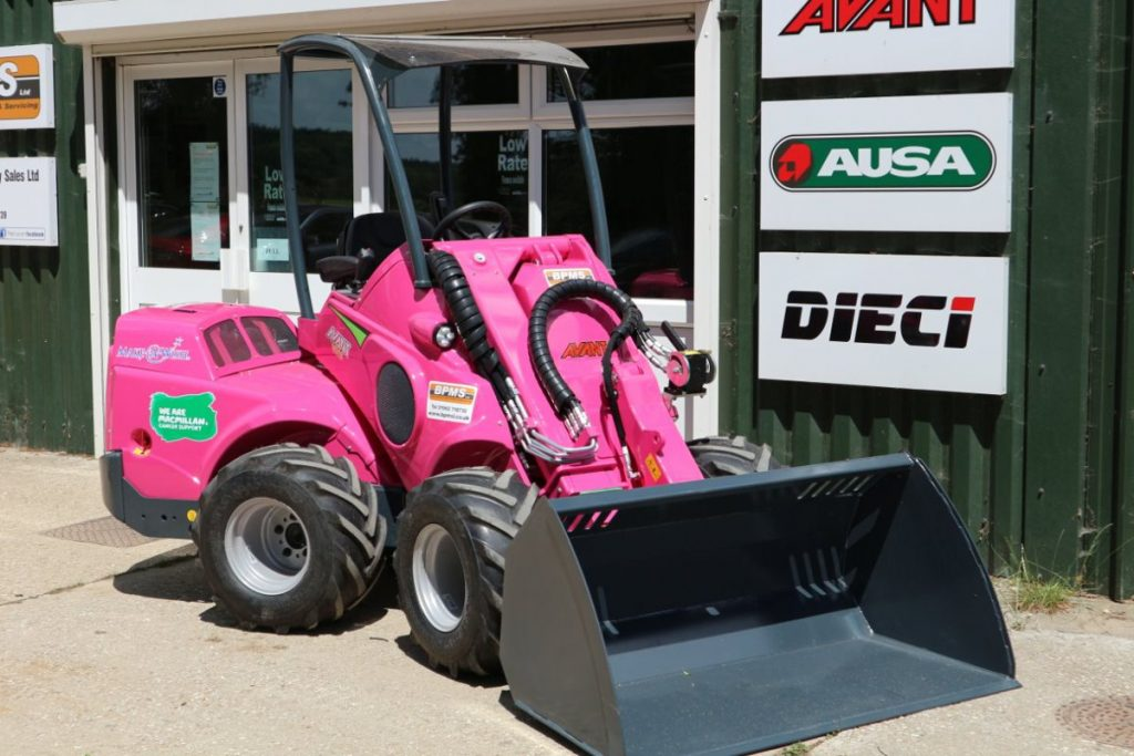 BPMS produce pink Avant wheel-loader to support Make a Wish Foundation and Macmillan Cancer