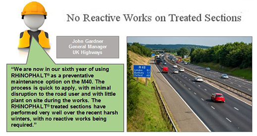 UK Highways has been using RHiNOPHALT for 6 years on the M40