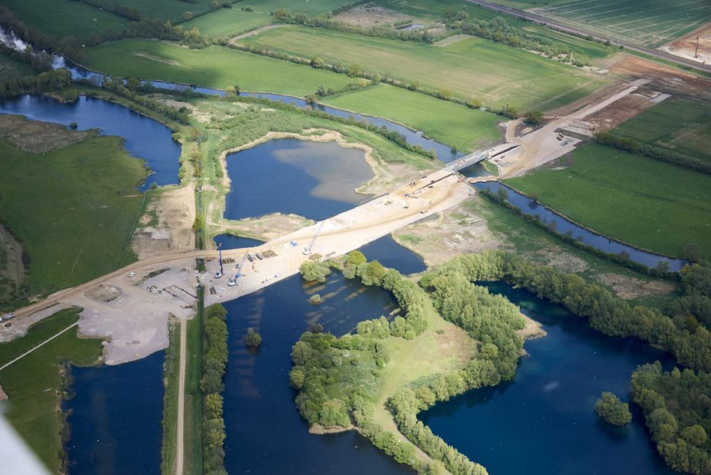 outline and temporary haul bridge for the construction of the new River Great Ouse viaduct.
