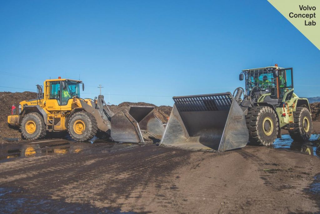 Volvo CE's LX1 prototype electric hybrid wheel loader at Redwood Landfill and Recycling Center