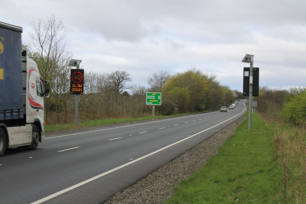 'First of its kind' speed awareness solution installed across six locations on the A75 in Scotland
