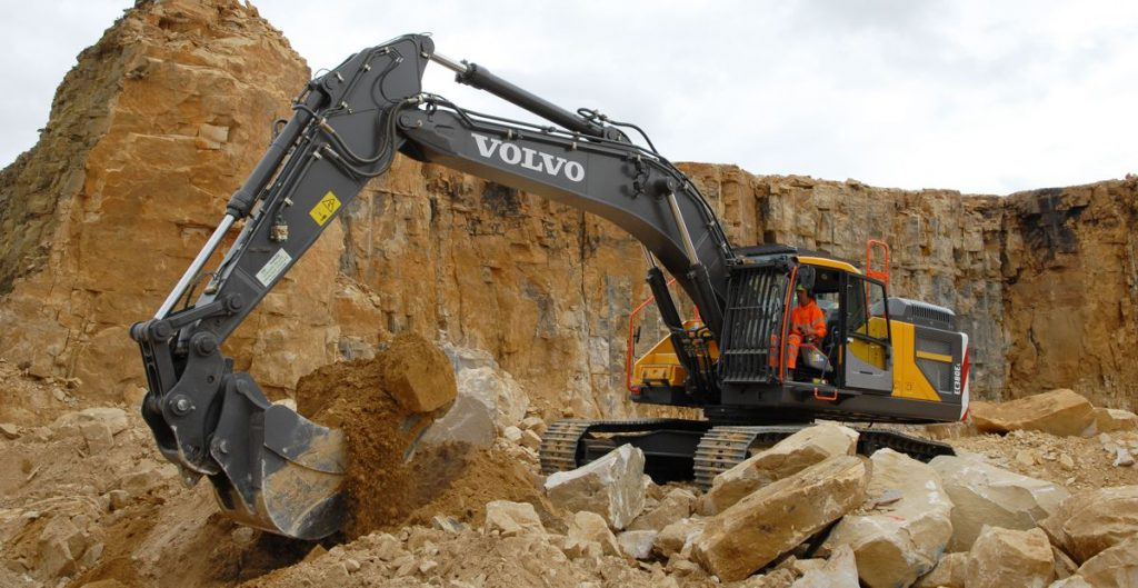 The Volvo EC380E crawler excavator will rehandle waste product which will be used in land restoration.