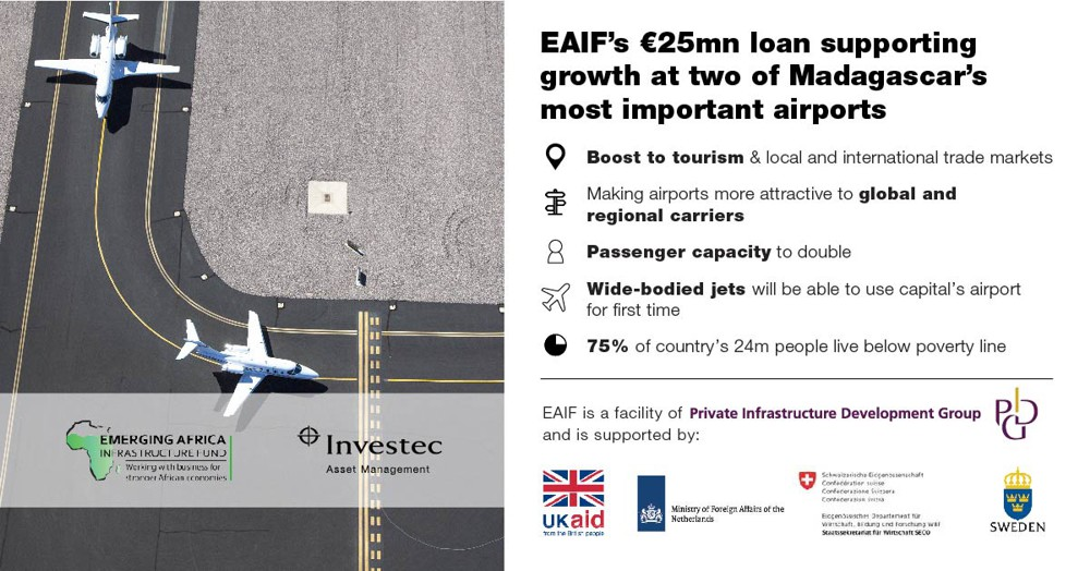 EAIF backs upgrades and expansion at two Madagascar airports, following private sector company Ravinala Airports winning management concession