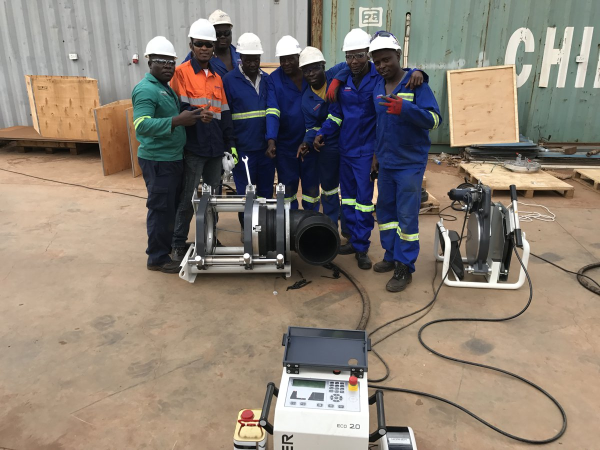 PlastiTech had four teams of eight people each, including four butt-welders and four assistant welders working around the clock to complete work on the project