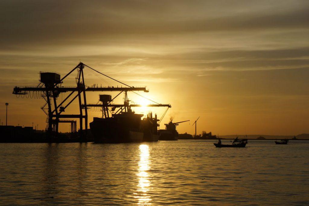 Sunset at the Sihanoukville Port Cambodia - Photo by Kinnla