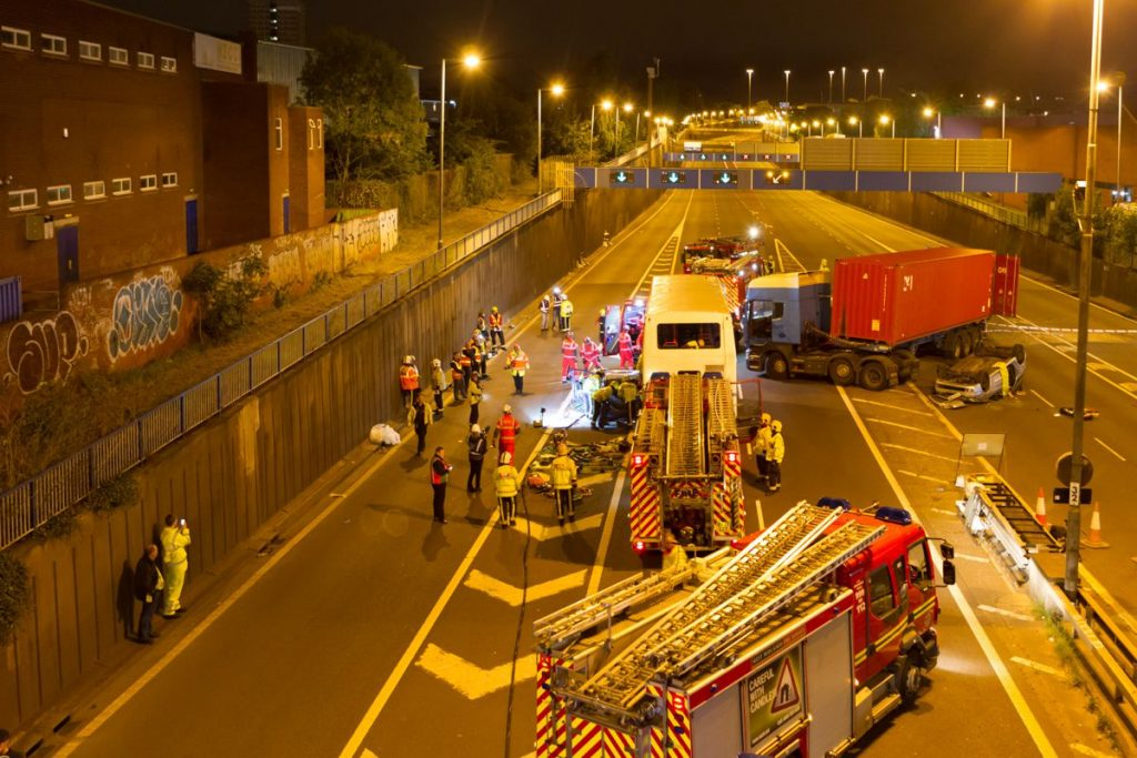 Highways England joined together with the emergency services including West Midlands Fire Service and West Midlands Ambulance service for a special training exercise in Birmingham.