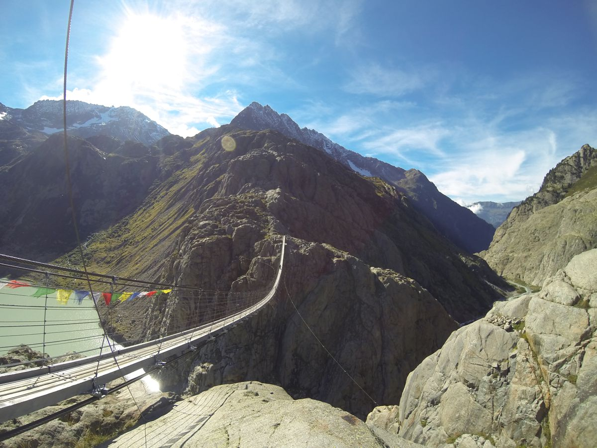 Swiss Alps pedestrian suspension bridge opens