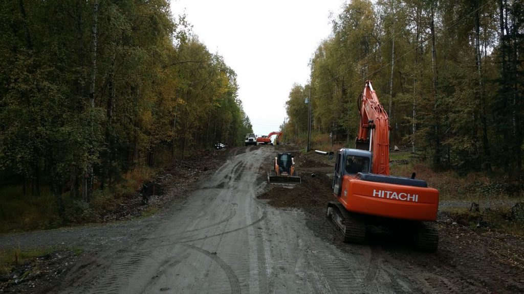 Roadwork in a residential subdivision located in Alaska