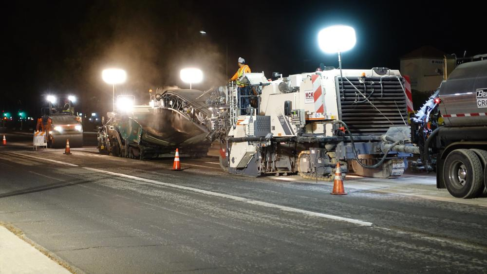 Recycling 100 miles of highway in San José, day and night with Wirtgen