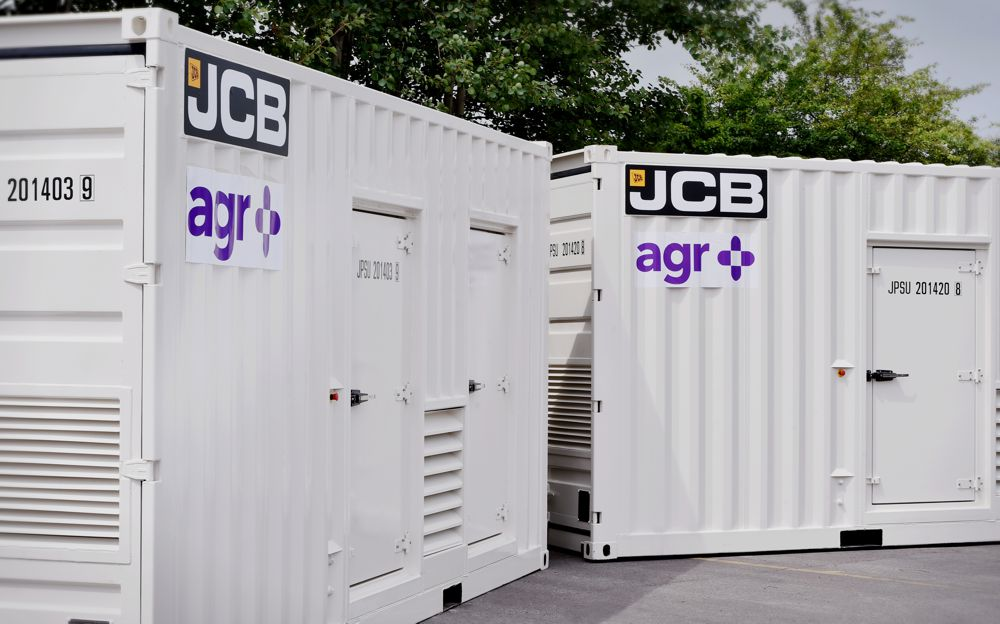 JCB Containerised Generators which have been manufactured as part of the £10 million deal with alternative electricity generating company the AGR Group.