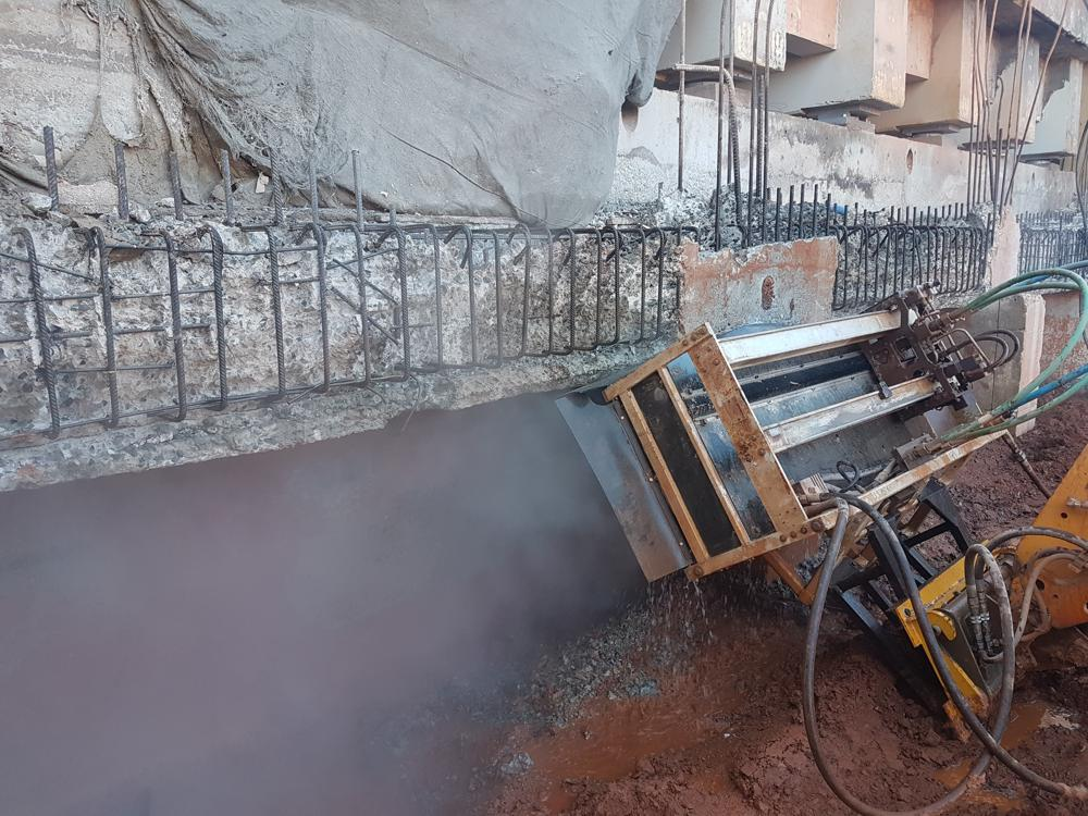 Hydrodemolition technology was employed to remove deteriorated concrete from the structures without any damage to existing steel reinforcement