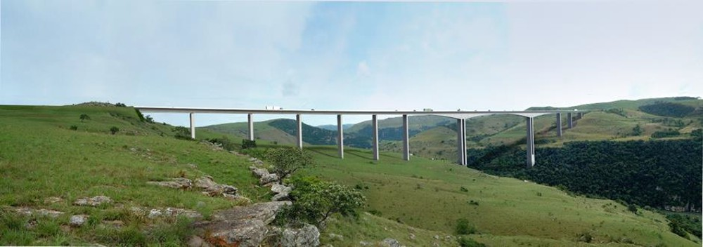 Architectural representation of the N2 Wild Coast Mtentu Bridge.