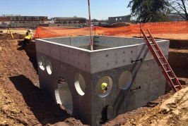 Precast Concrete drainage components used for Phoenixville's New School Stormwater Management System