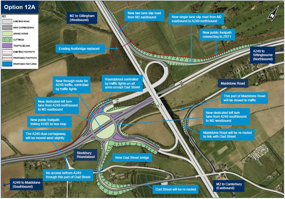 An outline of Highways England's plans for improvements at junction 5 on the M2