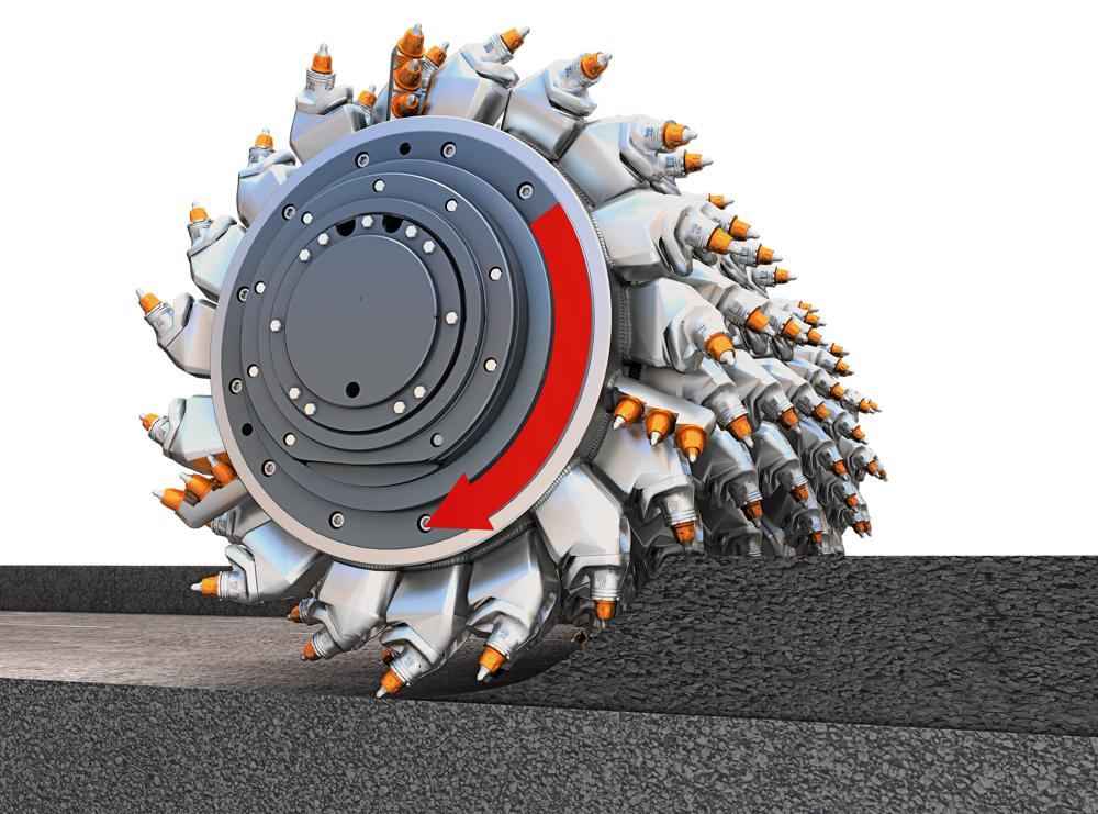 WIRTGEN down-cut process: The milling and mixing rotor rotates in the direction of travel. This prevents large chunks of pavement from breaking off.